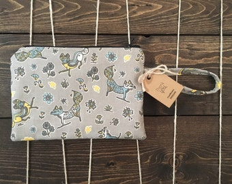 Wristlet wallet, zipper pouch, iphone wallet case, zipper clutch