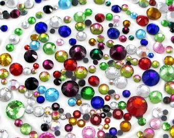 20g/lot (Approx 450pcs) 2-6mm Mixed Colors Glass Flatback Rhinestone Hot Fix Stones DIY Garment/Bag/Shoes Crafts