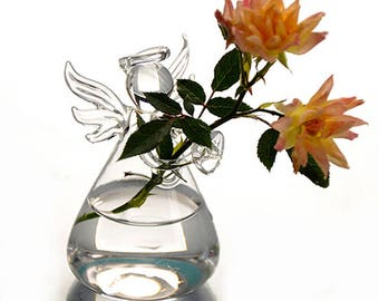 Clear Angel Glass Hanging Vase Terrarium Hydroponic Container Plant Pot DIY Home Wedding Garden Decor