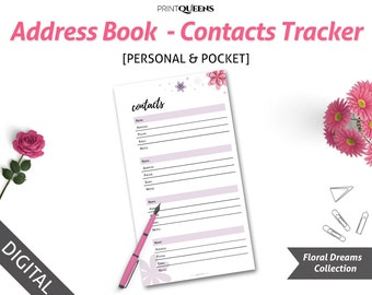 Contact Information, Contact Paper, Phone Numbers, Contact List, Contact Number, Printable Planner Inserts, Pocket Size Planner Inserts