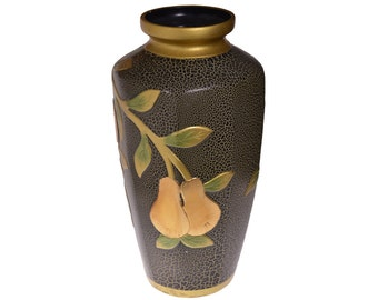 Vintage Hand Painting Vase Metal Flowers Ornament Relief Art USSR 1980-x