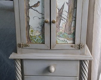 Handcrafted Large Wooden Jewelry Armoire, OOAK Upcycled, Vintage Decoupage, Shabby Chic, Woodland Jewelry Box, Gift for Daughter