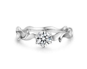 Nature Inspired Moissanite Engagement Ring in 14k White Gold, Diamond Alternative engagement ring
