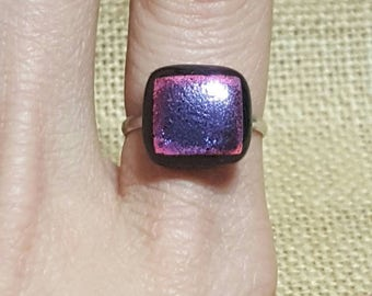 Dichroic glass fused adjustable ring