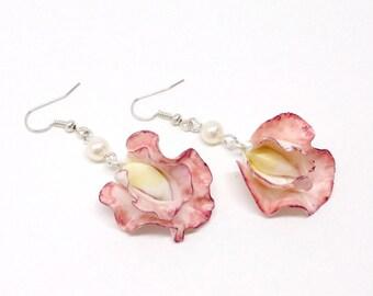 Sweet pea earrings, dark red flower jewelry, polymer clay jewelry, swarovski earrings, sweet pea jewerly
