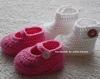 Baby girl shoes and booties, white baby booties, pink baby shoes, handmade baby boots, handmade baby shoes, set for baby girl, shower gift