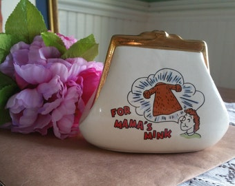 Vintage 1960s For Mama's Mink Coin Bank / piggy bank / coin purse / ceramic / gifts for her / gold trim / unique gifts / fur coat