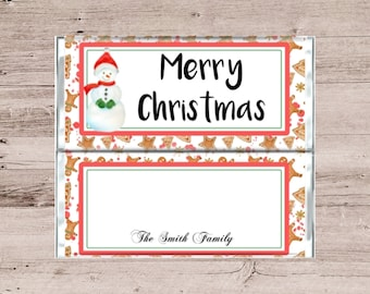 Merry Christmas Chocolate Bar Wrappers-Merry Christmas Candy Bar Wrappers-Snowman Candy Bar Wrappers-Snowman Chocolate Bar Wrappers-DIY