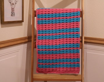Handmade Crochet Basketweave Pattern Pink and Turquoise Baby Blanket