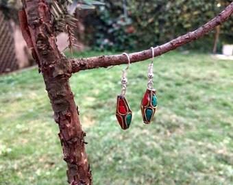 Nepal Earrings, Beads from Tibet, Coral Ethnic Earrings