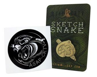 Sketch Snake Enamel Pin / Sticker Combo