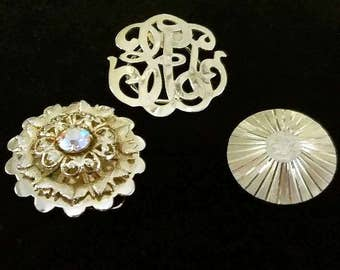 Vintage Scarf Slide Sliders Collection Lot of 3 Gold Tone Clip On Brooch Women's Costume Jewelry Dress Accessories Modern Mod Retro Jewerly