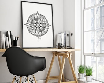 COMPASS MANDALA Design PRINTABLE Illustration Fine Line Pen Drawing