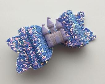 Magical Princess castle hair bow - purple