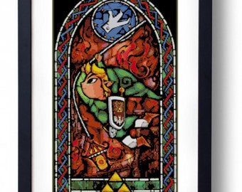 The Legend of Zelda - Link Stained Glass Grappling Hook The Wind Waker (Cross stitch embroidery pattern pdf)