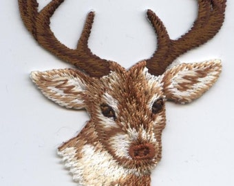 Iron On Embroidered Applique Patch Deer Head