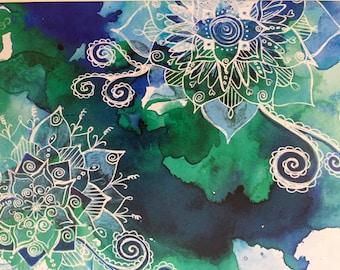 Art print. Blue art. Tattoo art. Mandala art. Boho art. A4. 42cm x 32cm.