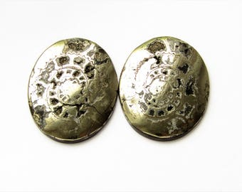 Ammonite  cabochon with silver pyrite (pair) 40x32x2 mm