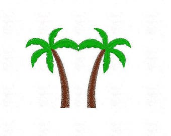 Palm Tree Machine Embroidery Design Pattern File - Fits 4x4 Hoop - MULTIPLE FORMATS- Instant Download