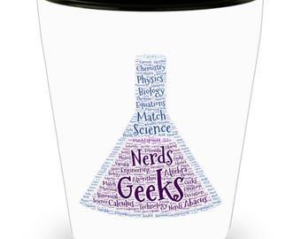 Science Rules! Chemistry, Physics, Biology Beaker! DAD Gift!! Let him know how much you care! White Ceramic Shot Glass Gift!