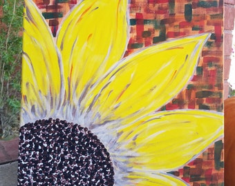 Canvas Sunflower painting, sunflower wall decor,  fireplace mantle decor, fall party decor, fall decorations, gifts for her, fall wall art