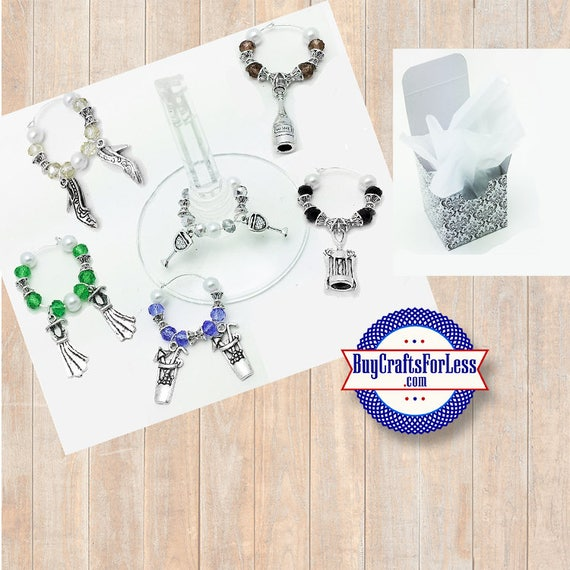 LADIES Theme Wine or Bottle Charms, Glass and Silver Beads, Set of 6! **FREE U.S. SHIPPING**
