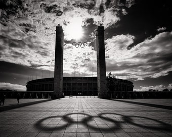 Olympiastadion - Olympic Stadium, Berlin, 1936 Olympics, Olympic rings, dramatic, shadows, black and white, fine art photographic print