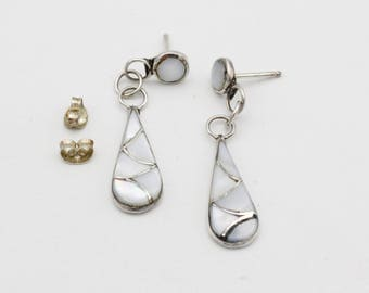 Sterling Silver Mother of Pearl Inlay Dangle Earrings