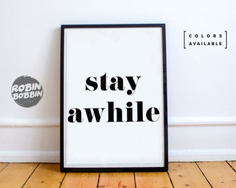 Stay Awhile l Wall Decor l Minimal Art l Home Decor l Valentines Gift l Anniversary Gift