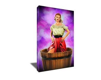 FREE SHIPPING Lucille Ball I love Lucy Grape Stomping Fight Canvas Art