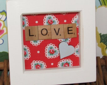 Little Cath Kidston Print Scrabble love picture, vallentines, mothers day, birthday, anniversary