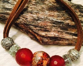 Boho Gemstone Leather Necklace