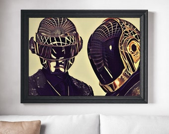 Daft Punk Art Painting Daft Punk Poster Print Canvas Print Music Poster Canvas Poster Design Wall Art Home Gift Poster Home Decor Art