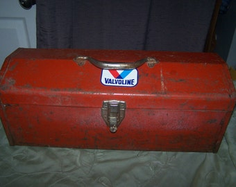 Vintage metal toolbox valvoline sticker