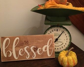 Blessed Wood Sign, Wood Blessed Sign, Farmhouse Wood Sign, Living Room Décor,