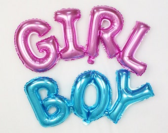 GIRL or BOY balloon; girl balloon; boy balloon; baby balloons; baby announcement; gender reveal; baby shower; baby party; photo prop