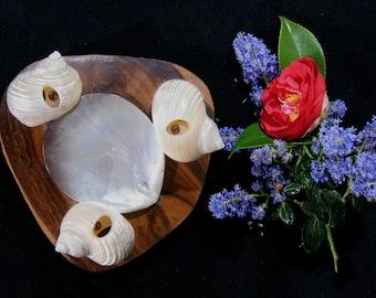 Cendrier Tahiti nacre Tiki / cendrier coquille, années 60, coquillage et bois
