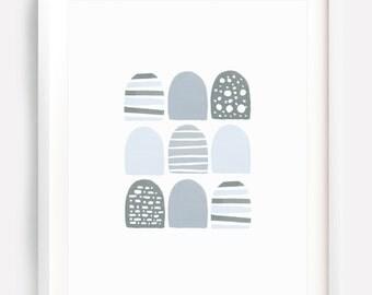 Light Grey Art, Abstract Art, Scandinavian Art, Kids Wall Art, Blue Grey Art, Grey Print, Pastel Art, Geometric Art, Wall Art, Printable Art