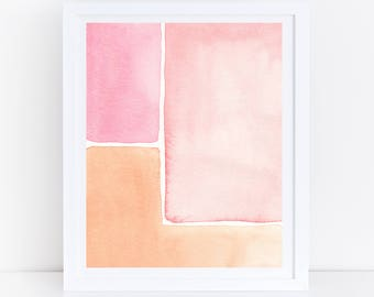 Mid Century Modern Print, Watercolor Printable Art, Pink Orange Print, Abstract Wall Print, Mid Century Modern Wall Art, Pink Watercolor