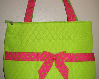 QUILTED LIME w/pink trim diaper bag FREE personalization