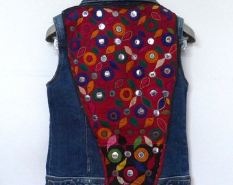 Denim Sleeveless Jacket embroidered with Indian tribal embroidery