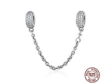 Pave Clear Zirconia Safety Chain Charm 100% 925 Sterling Silver, Fits Famous Pandora Chain Bracelet, DIY Jewelry