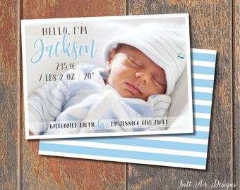 Hello I'm...Printable Baby Boy Birth Announcement. Blue. Two-sided.