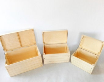 Wooden Chests. Set of Three. Wooden Trunk. Storage box. Box with Hinged Lid. Toy Box. Storage chest. Wooden Storage. Natural untreated Wood.