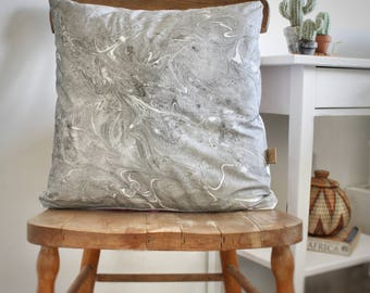 Hand Dyed Marble Fabric Pillow Case, Marble Pillow Cover