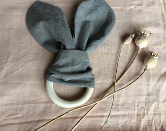 Baby teething ring - organic toy, dyed grey naturally with tea, wooden toy, natural baby toy