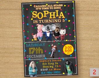 Sing Movie Birthhday Invitation, Sing Movie Invite, Sing Movie Birthday Card, Sing Movie Printable Chalkboard Invitation, Sing Movie Party