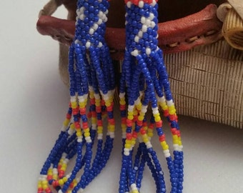 Traditional Authentic  Handmade Native American Beaded Earrings