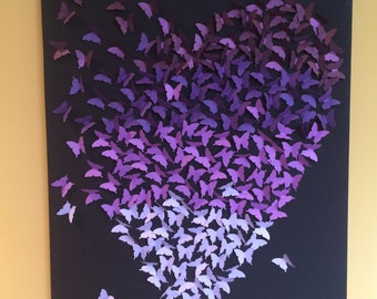Heart and Butterflies Wall Art, Purple/Violet Ombre, 3D Wall Art Collage