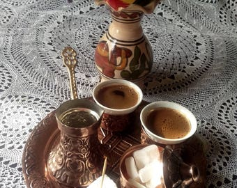 coffee set copper coffee set handmade bosnian coffee copper set souvenirs sarajevo bosnia turkish coffee set